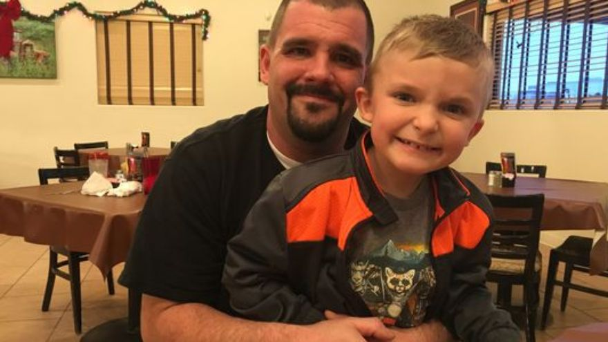 Cory Grimes and his seven-year-old son Jordan. Source: 9news.com