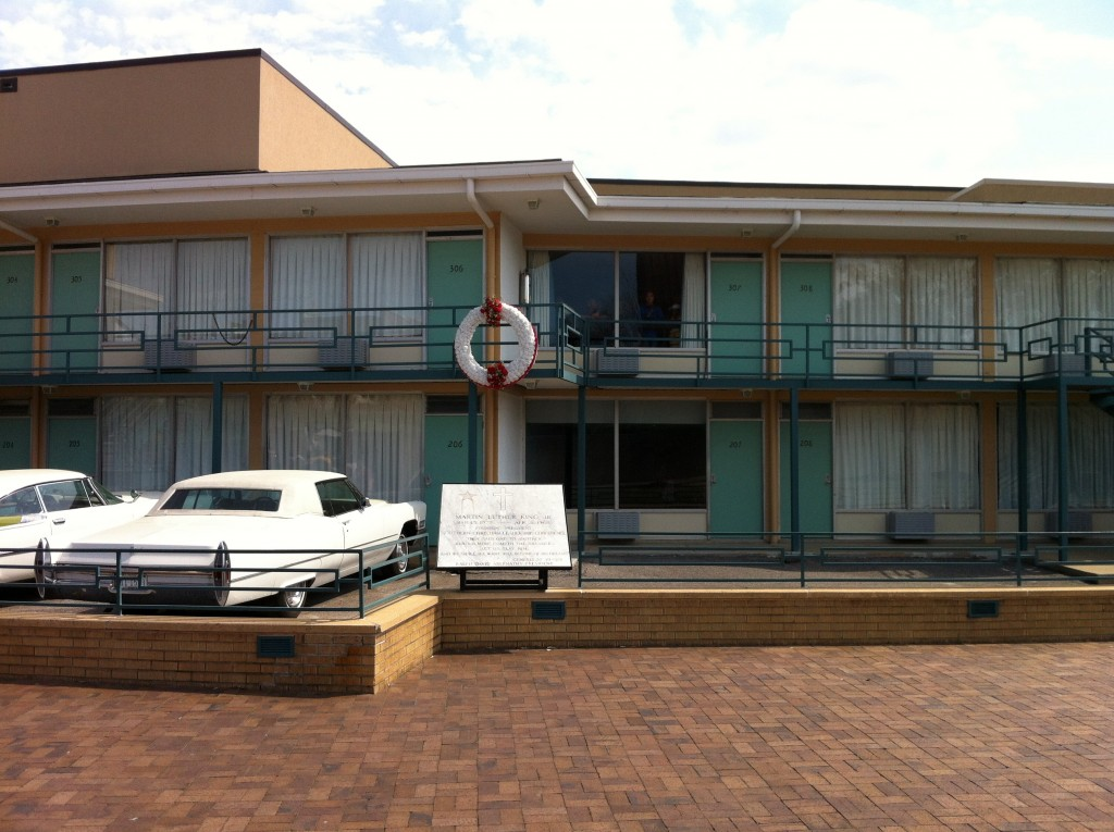 "View of the site of the assassination of Martin Luther King, Jr. at the Lorraine Motel, which is now a part of the National Civil Rights Museum in Memphis, TN. The wreath marks the approximate site of the assassination. (""Lorraine Motel 04 15 Mar 2012"" by DavGreg - Own work. Licensed under CC BY-SA 3.0 via Commons)"