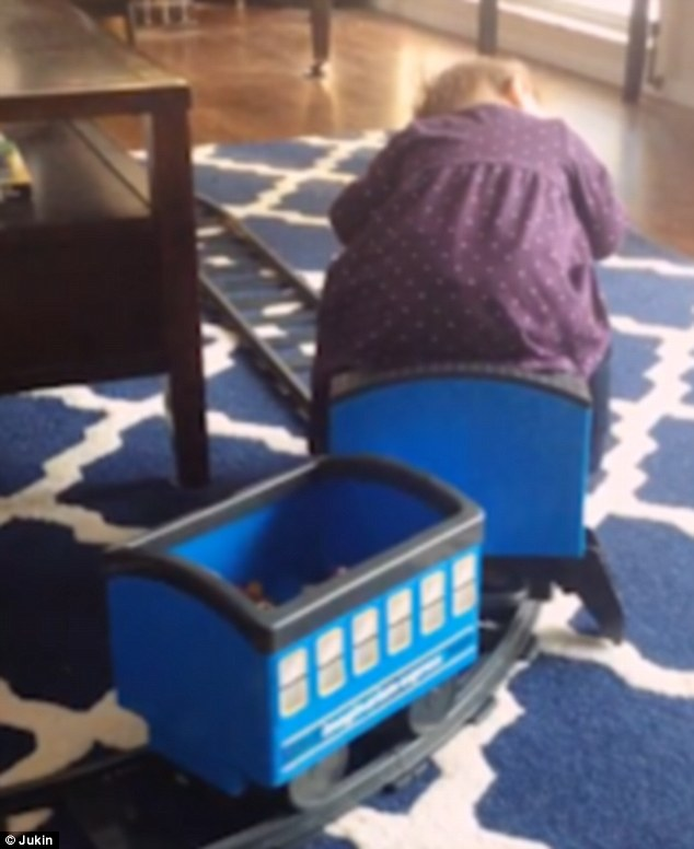 Toddler Falls Asleep On Toy Train